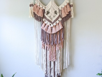 Selling: Macrame Wall Hanging with Pink and Purple Fringe