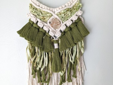 Selling: Macrame Wall Hanging with Citrine Crystal and Driftwood