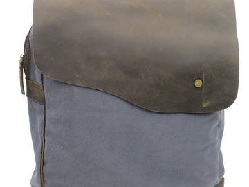 Buy Now: Hiking Sport Cowhide Leather Cotton Canvas Backpack C15 BG