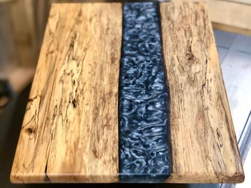 Selling with online payment: Spalted Maple and Charcoal Resin Charcuterie Board