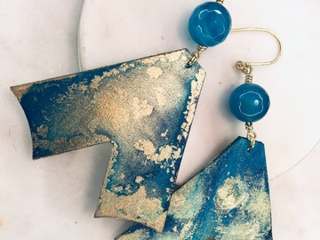Selling with online payment: Hand-printed Upcycled Wood and Agate Earrings