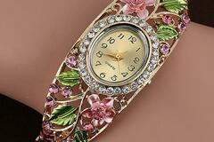 Selling with online payment: Crystal Flower Bangle Bracelet Watch Reloj Mujer