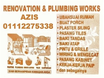 Services: plumbing dan renovation 01112275338 azis setiawangsa
