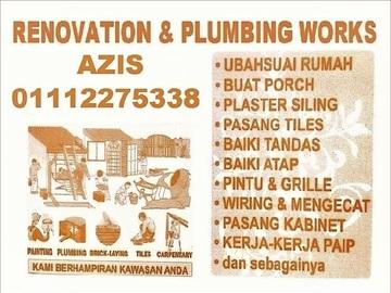 Services: plumbing dan renovation 01112275338 azis taman setapak indah