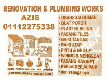 Services: plumbing dan renovation 01112275338 azis taman bunga raya
