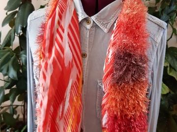 Vente au détail: Echarpe laine tissu orangé
