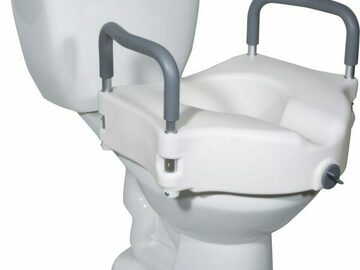 SALE: Medical Elevated Raised Toilet Seat/ Removable Padded Arms