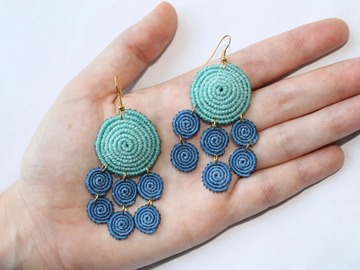 Selling: TIERED SPIRALS I | Dangly Spiral Macrame Earrings