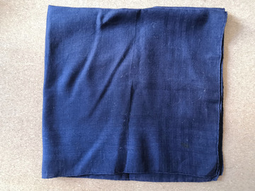 Online payment: Hand rolled cotton pocket square, dark blue