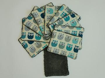 Vente au détail: Lot de 10 - lingettes lavables - hiboux bleus#2