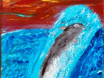 Selling with online payment: Playful Dolphin Painting