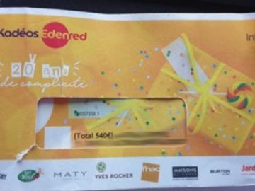 Vente: Chèques Kadeos Edenred infini (340€)