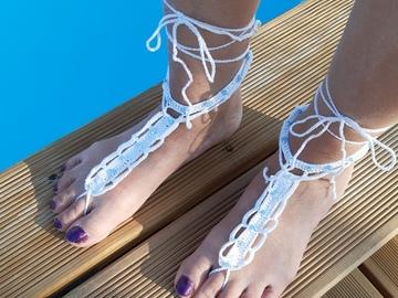Vente au détail: Bijoux de pieds perles nacrées bleues