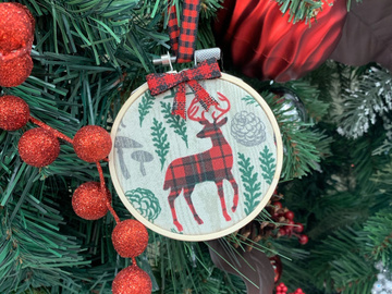 Selling with online payment: Rustic Farmhouse Deer Embroidery Hoop Christmas Tree Ornament