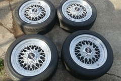 """Selling: Staggered 15"""" BBS RS wheels with tires"""