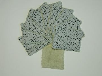 Vente au détail: Lot de 10 - lingettes lavables - bleu aux étoiles noires