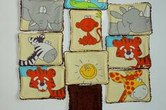 Vente au détail: Lot de 10 - lingettes lavables - écru et animaux