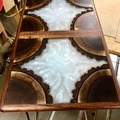 Selling with online payment: Black Walnut Log and Epoxy Side Table