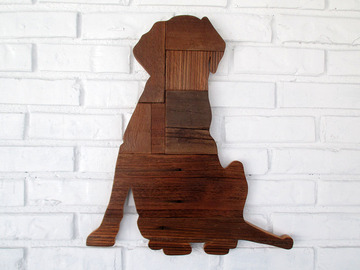 Selling: Rustic Sitting Lab Reclaimed Wood Dog Wall Art