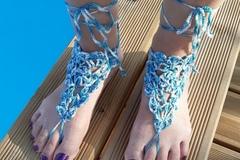 Vente au détail: Bijoux de pied bleu argenté