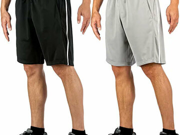 Buy Now: 120 Pairs Mens Active Shorts - Black/Grey - Sizes M,L,XL