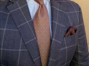 Online payment: Light brown windowpane check jacket by Hackett, 40UK