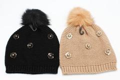 Buy Now: 24 New Neiman Marcus Dotty Floral Pom Beanie Caps