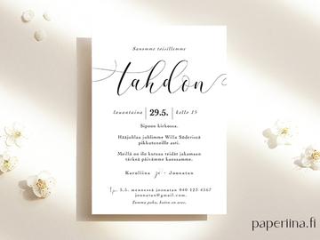 Hääpalvelut: Paperiinan modernit ja kauniit hääpaperituotteet