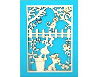 Selling: Dogs in Garden Greeting Card