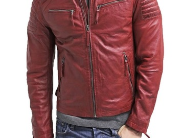 Buy Now: Genuine Leather Jackets by Keach, Red Lamb Skin Leather, 8 Units.