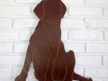 Selling: Chocolate Lab Sitting Wood Dog Wall Art