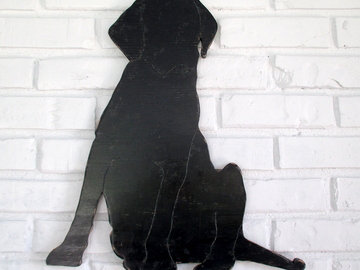 Selling: Black Lab Sitting Wood Dog Wall Art