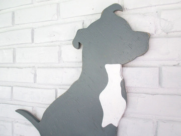 Selling: Pit Bull Terrier Grey Wood Dog Wall Art