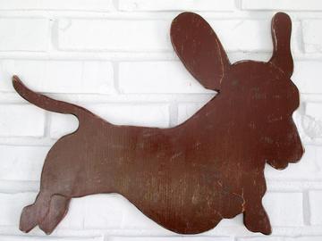 Selling: Brown Dachshund Running Wood Dog Wall Art