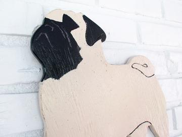 Selling: Pug Wood Dog Wall Art