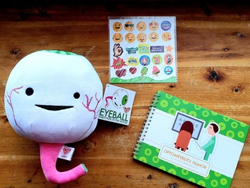 "Selling with online payment: New Stuffed eyeball, stickers, and ""Optometrist's Humor"" booklet"