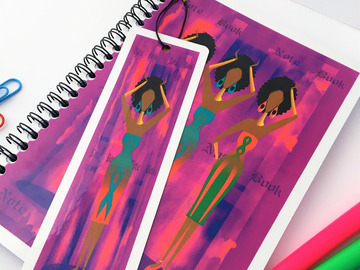 For Sale: Black Elegant Ladies - Gift Set. Cerise Notebook & FREE bookmark