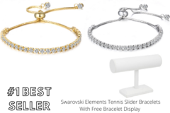 Buy Now: 25 pieces Swarovski Elements Tennis Slider Bracelets w Display