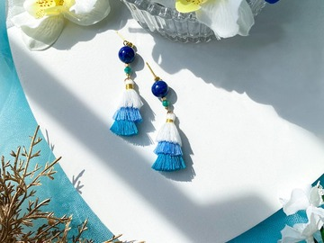 : Lapis Lazuli Tiered Tassel Earrings