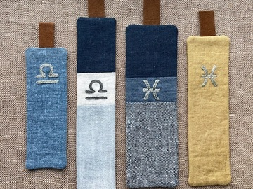 : Embroidered Zodiac Bookmarks- Libra and Pisces