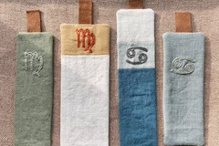 : Embroidered Zodiac Bookmarks- Virgo and Cancer