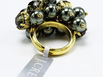 Liquidation/Wholesale Lot: Dozen J.Crew Gold & Dark Pearl Cubic Zirconia Statement Rings