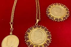 Buy Now: 7 pcs- Vintage 1970's Kennedy 1/2 Dollar Coin Necks- $7.00 each