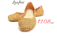 Buy Now: 36 Pairs of Summer Rubber Golden Glitter Loafers. $1.08 Each
