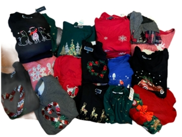 Buy Now: Resellers lot of Macy Closeout Christmas Sweaters & Shirts& More