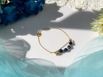 :  Gold Plum Blossoms Lapis Lazuli Double Chain Bracelet