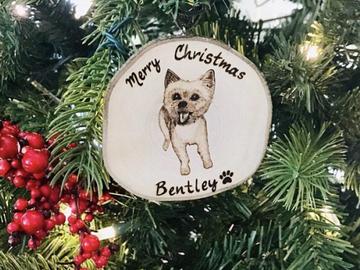 Selling:  Dog portrait Christmas Ornaments, Custom Dog Portrait Ornament