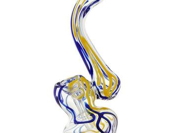 Post Products: Puff Labs Bent Neck Bubbler, Blue-Yellow, 5 Inch