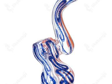 Post Products: Puff Labs Bent Neck Bubbler, Blue-Orange, 5 Inch