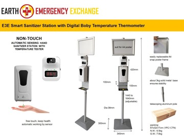 Instant Buy: Emergency-Aid Products: E3E Non Touch Smart Sanitizing Station with Digital Thermometer